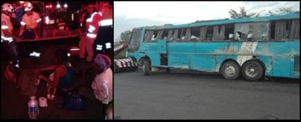 Vuelca autobús repleto de migrantes haitianos enVeracruz