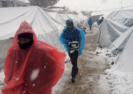 Refugees freezing in Europe