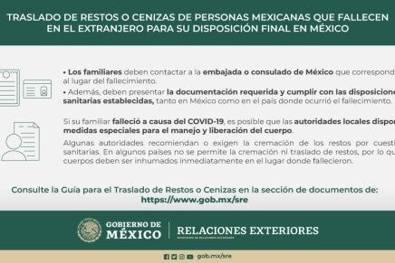 Guía para el Traslado de Restos de personas migrantes mexicanas que fallecen en el extranjero:SRE